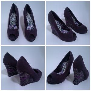 baeee9dac60 Ed Hardy Shoes - Ed Hardy shoes Sz 5 Love Kills Slowly Purple Wedge